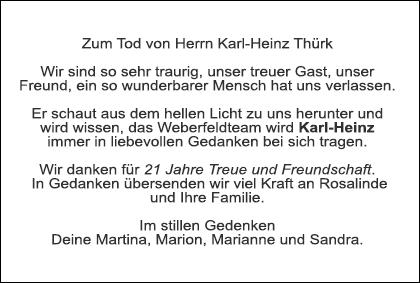 Todesanzeige Herr Thuerk